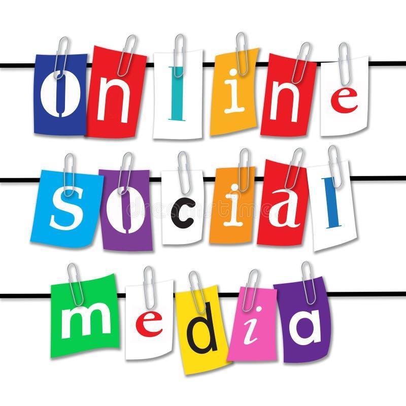 Meios sociais em linha ilustração do vetor