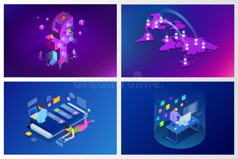 Meios sociais isométricos ou conceito social da rede Povos que usam um telefone, uma tabuleta e um portátil espertos para trabalh ilustração do vetor