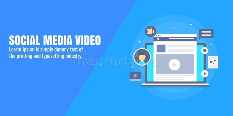 Meios sociais, mercado video, promoção video na rede social, conceito satisfeito da propaganda Bandeira lisa do vetor do projeto ilustração stock