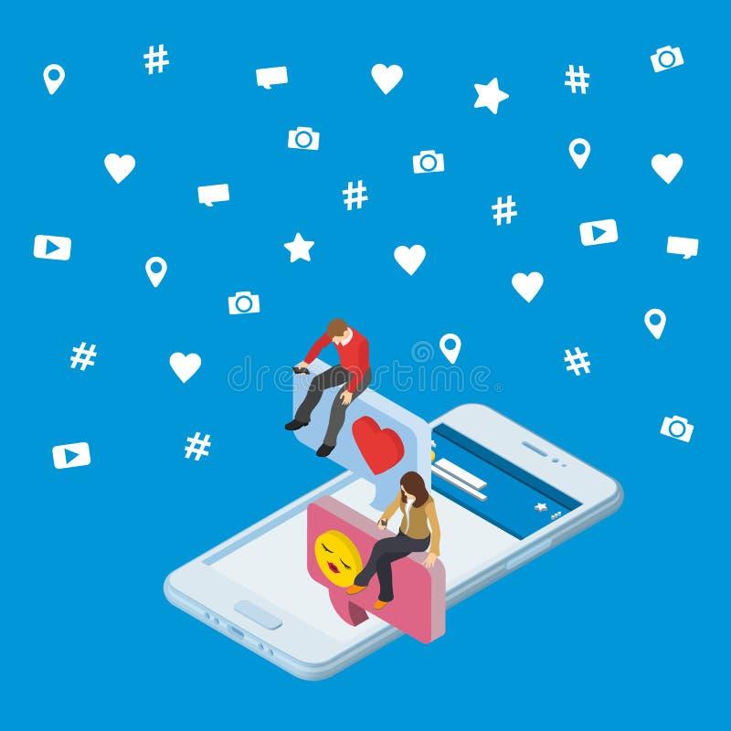 Meios sociais que introduzem no mercado o conceito 3d isométrico 3d Smartphone Os povos isométricos sentam-se na caixa de diálogo ilustração stock