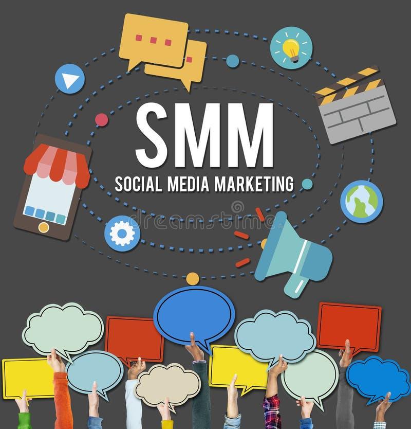 Meios sociais que introduzem no mercado o conceito em linha do negócio ilustração do vetor