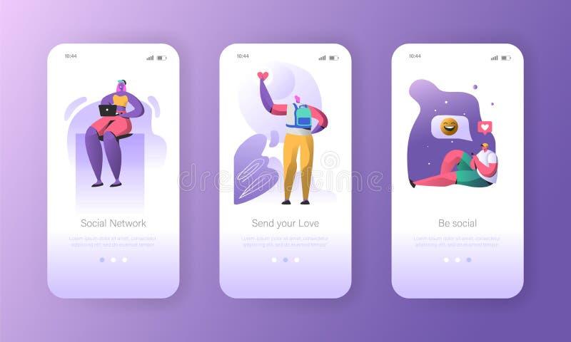Meios sociais que onboarding telas móveis do app ilustração stock