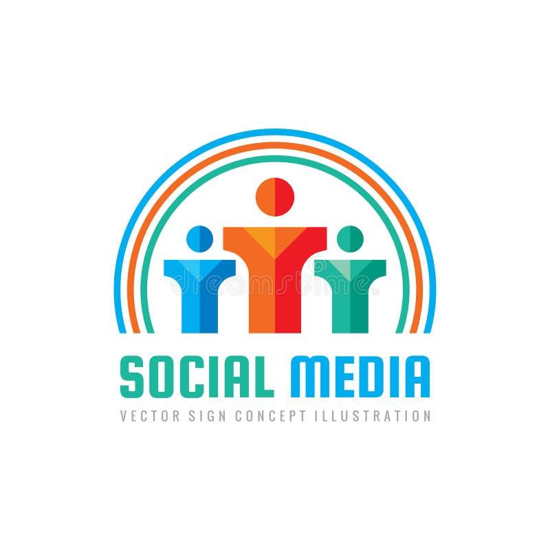 Meios sociais - vector a ilustração do conceito do molde do logotipo caráter humano sinal dos povos Ícone dos trabalhos de equipa ilustração do vetor