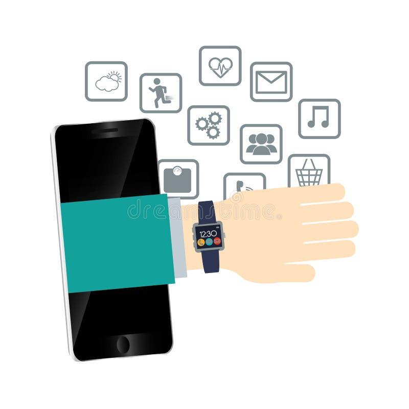 meios wearable do móbil da tecnologia do smartphone do relógio da mão ilustração do vetor