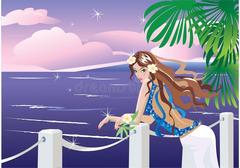 Meisje aan tropische overzeese kant