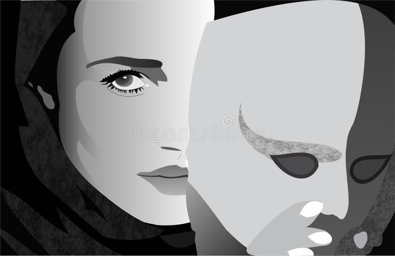 Meisje achter masker royalty-vrije illustratie