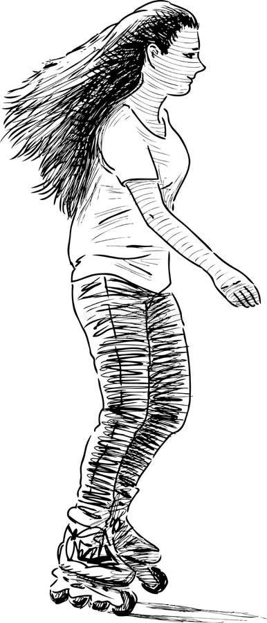 Meisje berijden rolschaatsen vector illustratie