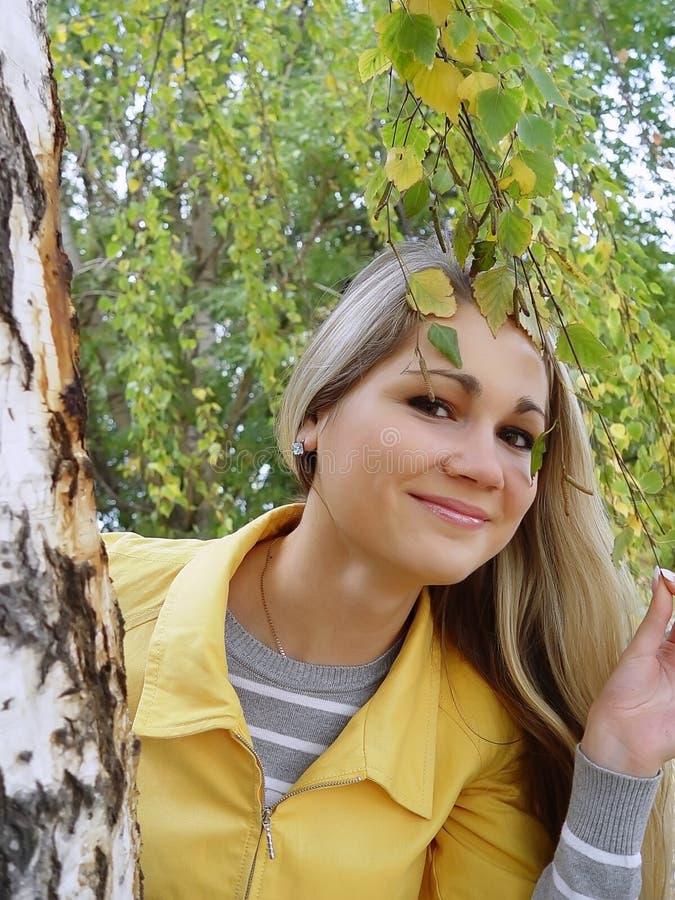 Meisje bij de berk in de herfst stock afbeeldingen