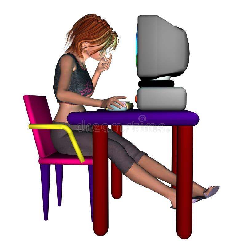 Meisje bij de Computer stock illustratie