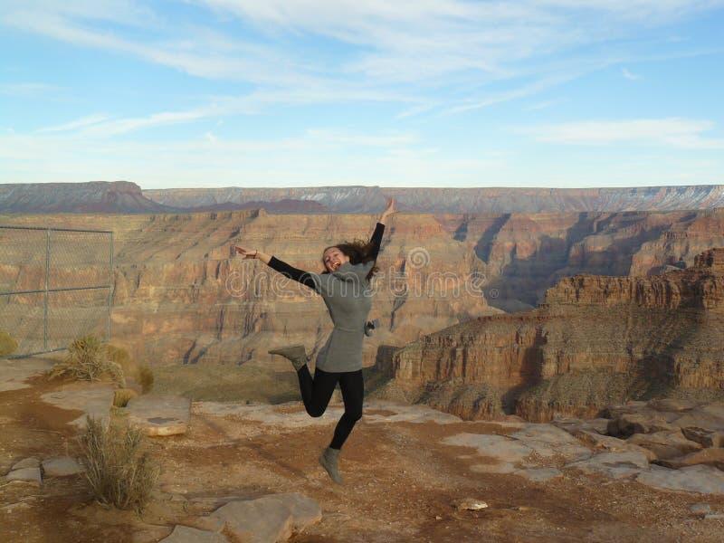 Meisje bij Grote canion royalty-vrije stock fotografie