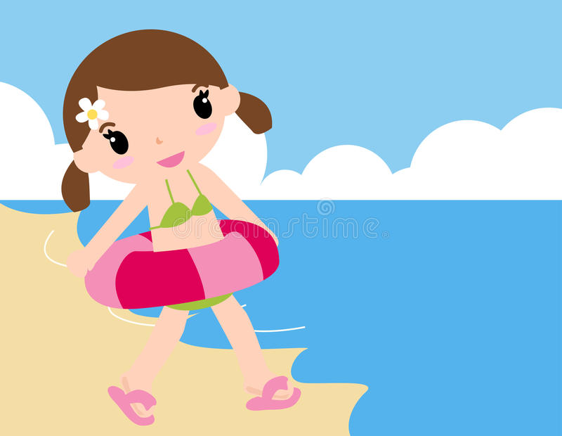 Meisje bij het strand royalty-vrije illustratie