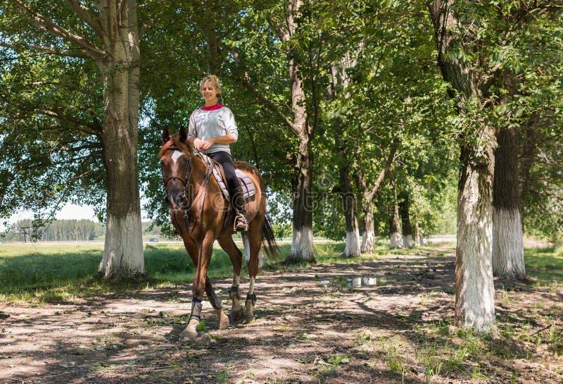 Meisje bij horseback het berijden royalty-vrije stock afbeelding