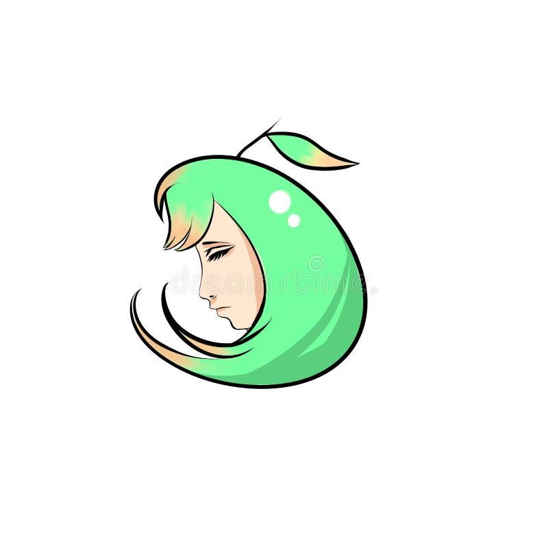 Meisje binnen een appel vector illustratie