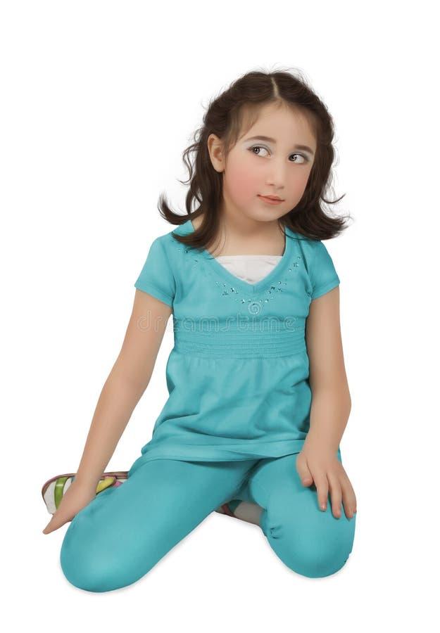 Meisje in blauw kostuum stock afbeelding