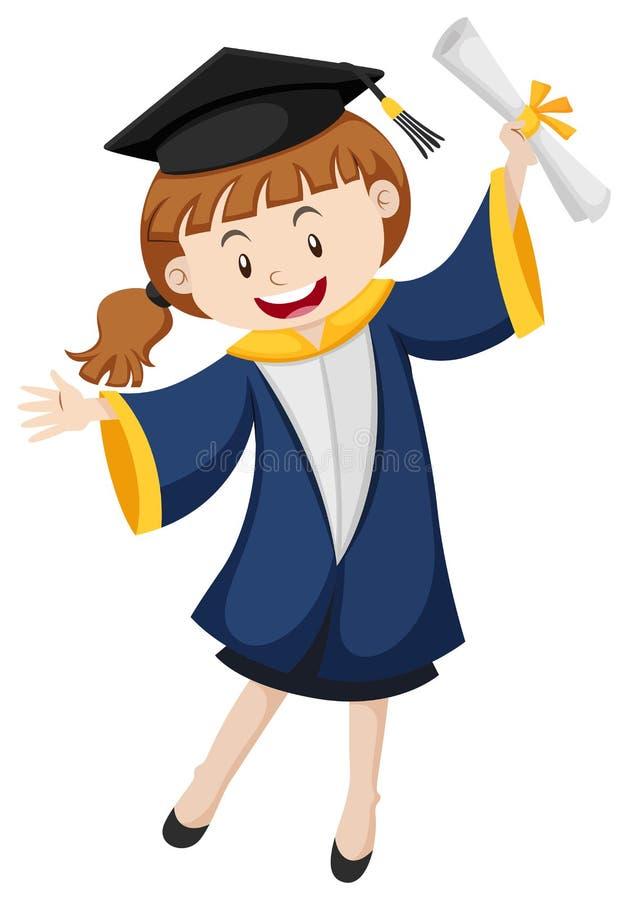 Meisje in blauwe graduatietoga royalty-vrije illustratie