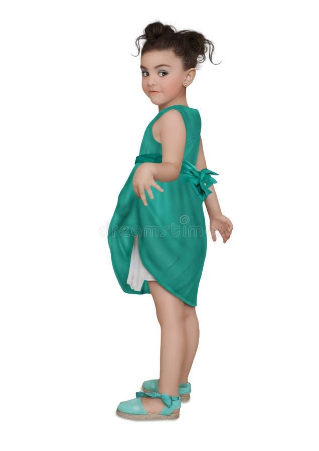 Meisje in blauwe kleding stock afbeelding