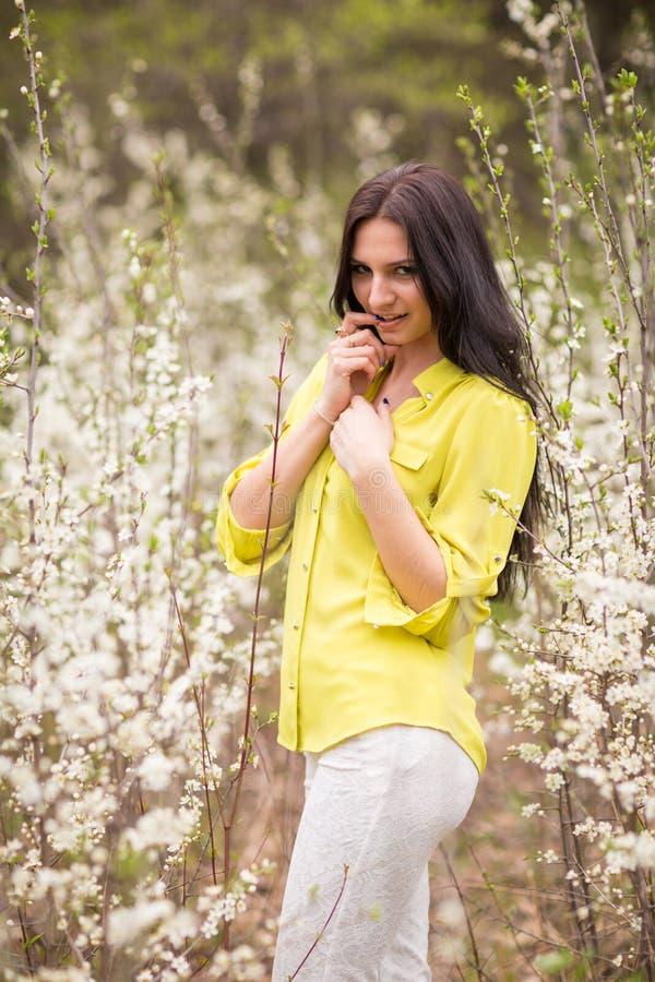 Meisje in bloemen van kers royalty-vrije stock afbeeldingen