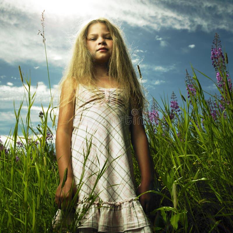 Meisje in bloemweide stock afbeeldingen
