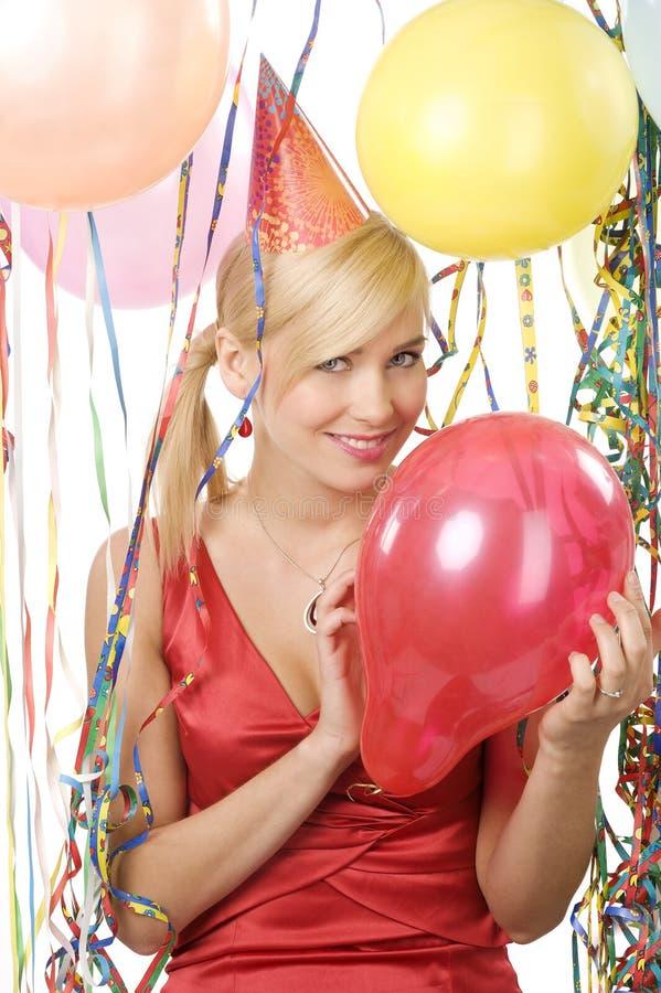 Meisje blond met rode ballon royalty-vrije stock foto
