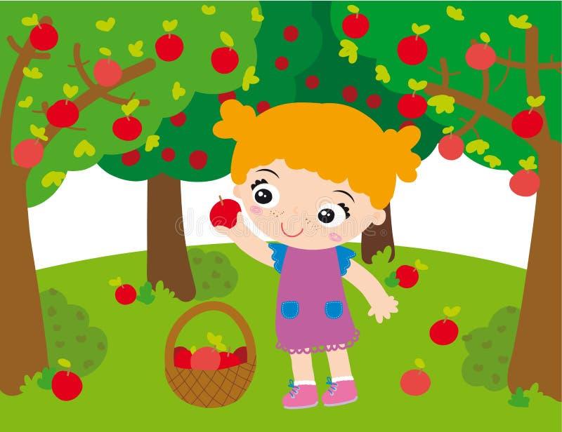 Meisje in boomgaard stock illustratie