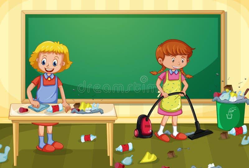Meisje Cleaning Dirty Classroom vector illustratie