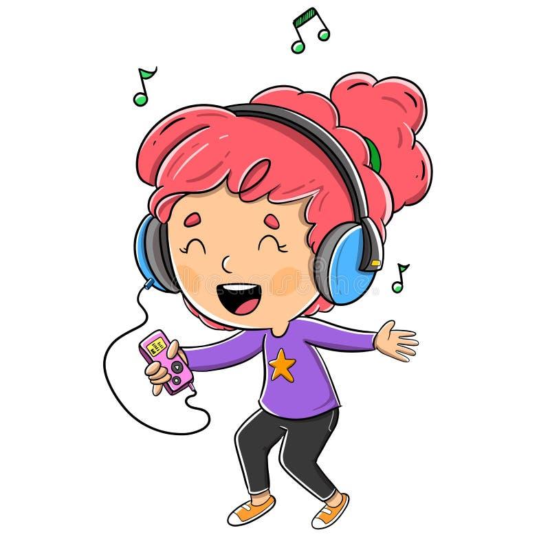 Meisje dat aan muziek met hoofdtelefoons luistert royalty-vrije stock fotografie