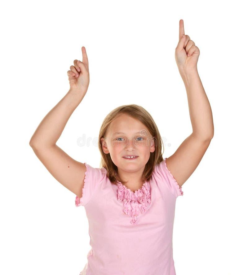 Meisje dat de winnaarsdans doet stock afbeeldingen