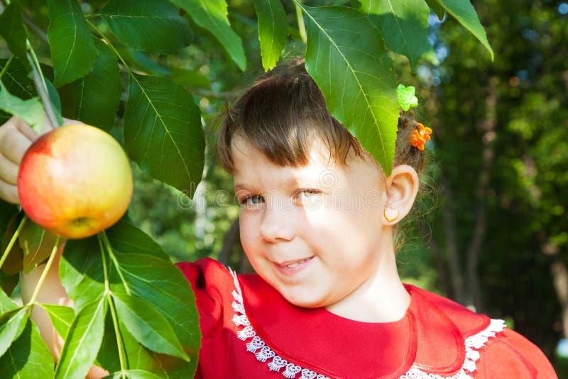 Meisje dat een appel houdt royalty-vrije stock afbeelding