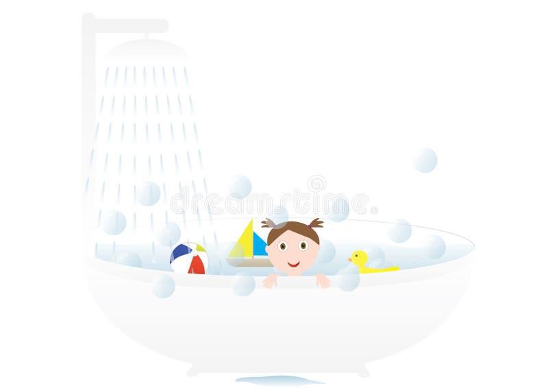 Meisje dat een bad neemt royalty-vrije illustratie