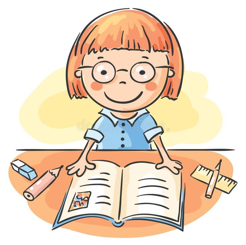 Meisje dat een boek leest vector illustratie