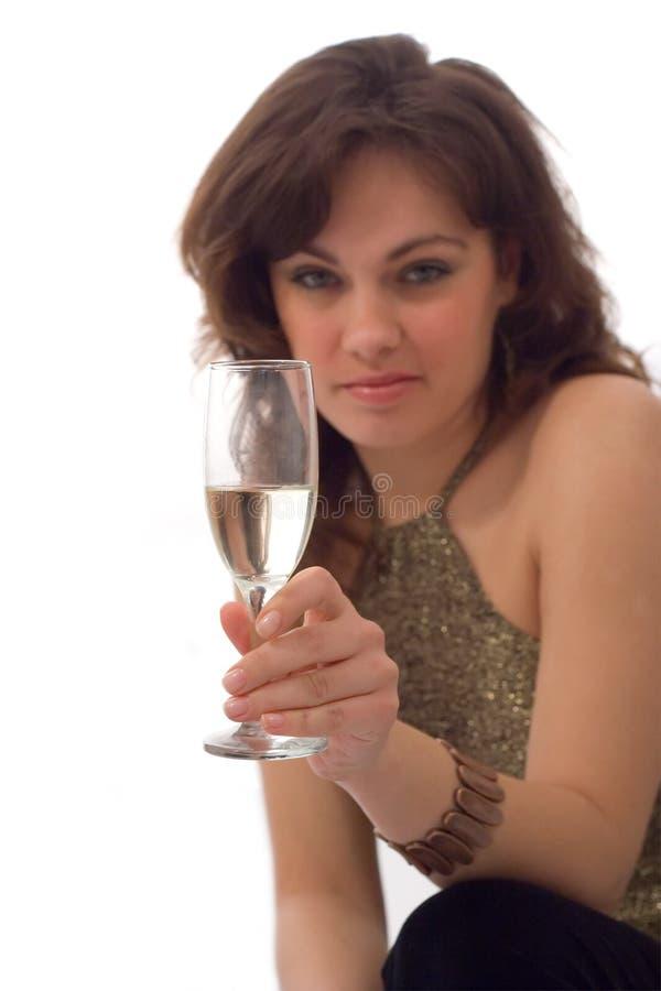 Meisje, dat een drank houdt stock fotografie