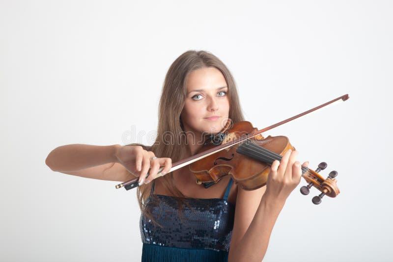 Meisje dat een viool speelt royalty-vrije stock afbeelding