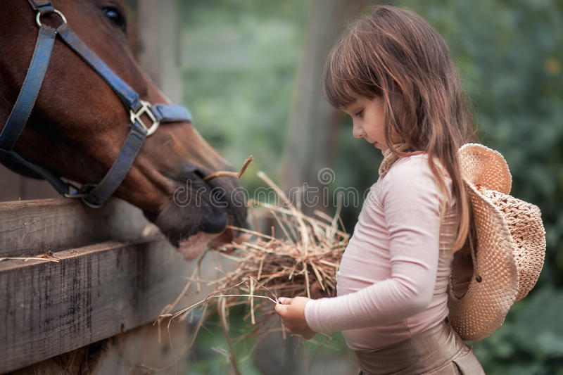Meisje dat haar paard voedt royalty-vrije stock foto's