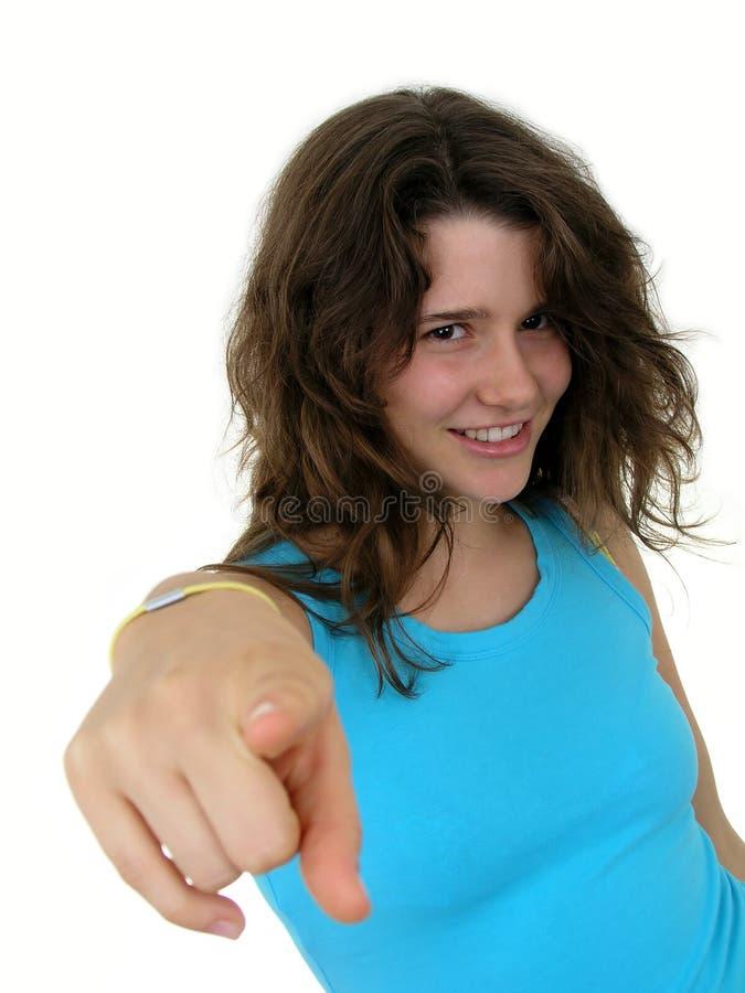 Download Meisje Dat Haar Vinger Richt Stock Afbeelding - Afbeelding bestaande uit vrij, smiling: 291689