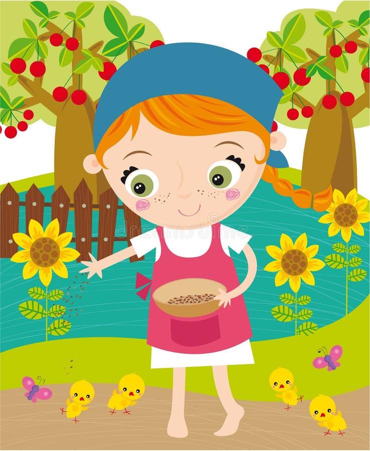 Meisje dat in landbouwbedrijf werkt stock illustratie