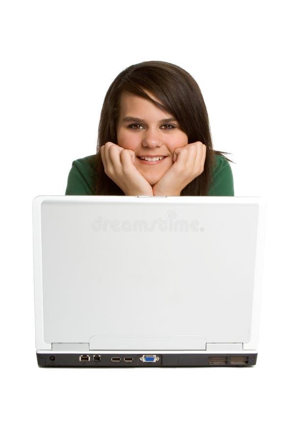 Meisje dat Laptop met behulp van stock fotografie