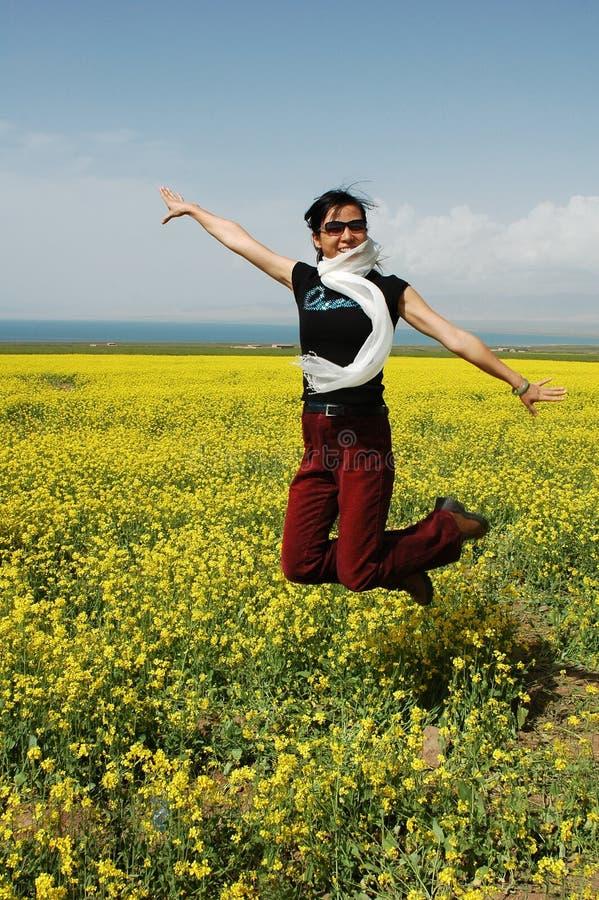 Meisje dat met vreugde springt royalty-vrije stock fotografie