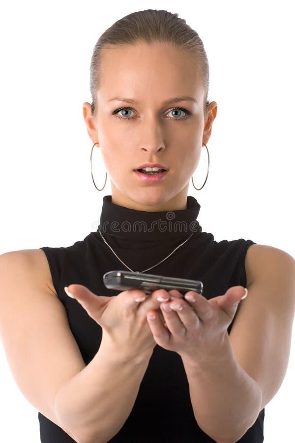 Meisje dat mobiele telefoon houdt royalty-vrije stock fotografie