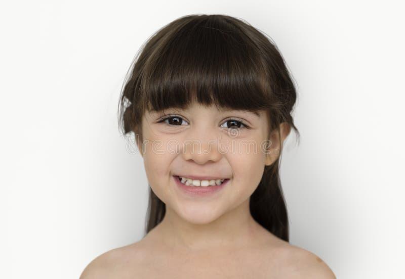 Meisje dat Naakt Chested Concept glimlacht stock foto's
