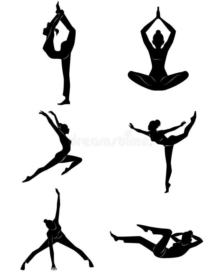 Meisje dat oefeningen doet stock illustratie