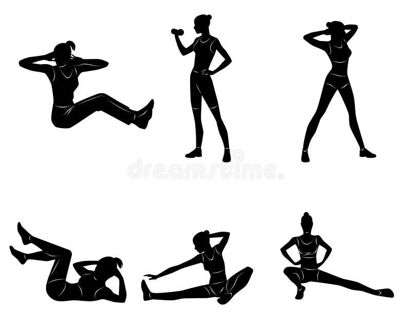 Meisje dat oefeningen doet vector illustratie