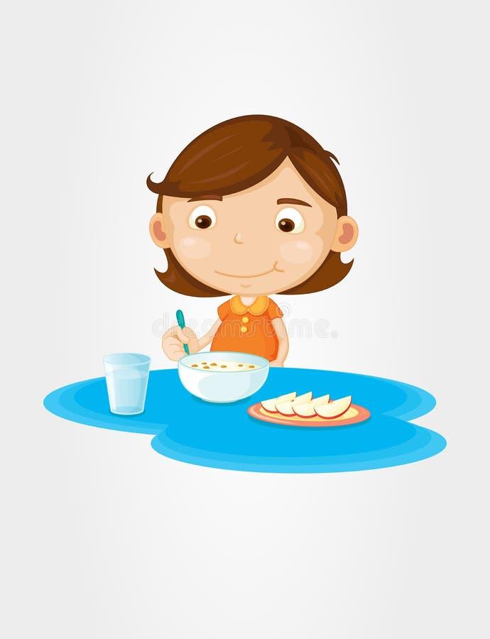 Meisje dat ontbijt eet vector illustratie