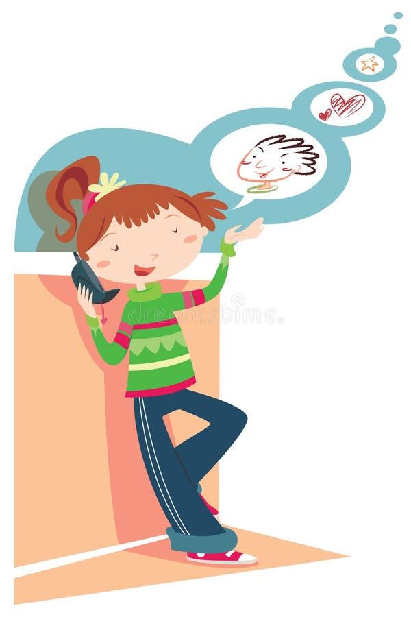 Meisje dat op telefoon babbelt stock illustratie