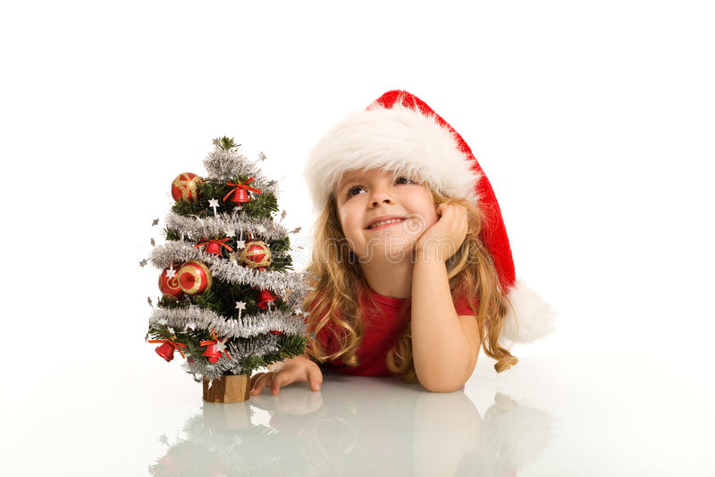Meisje dat over Kerstmis droomt royalty-vrije stock foto
