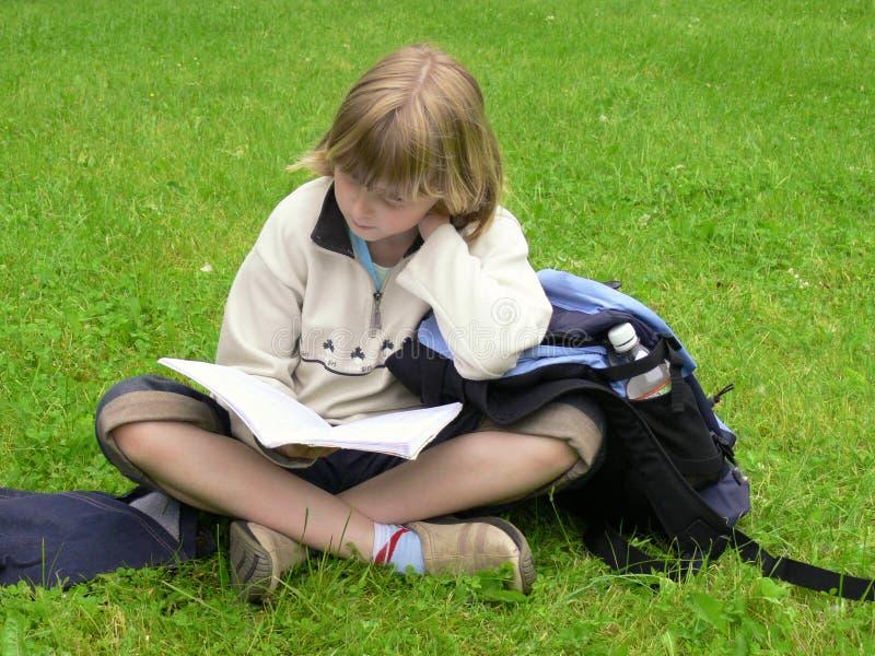Meisje dat in park bestudeert royalty-vrije stock afbeelding