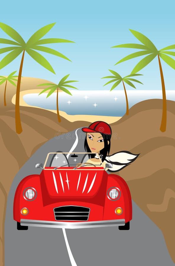 Meisje dat retro auto drijft royalty-vrije illustratie