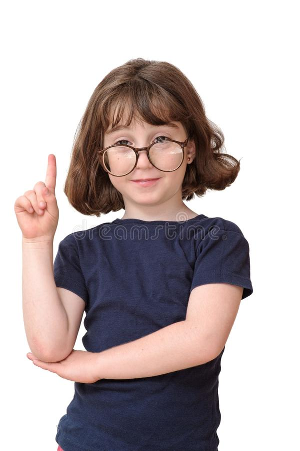 Meisje dat in ronde bril vinger binnen opheft royalty-vrije stock foto