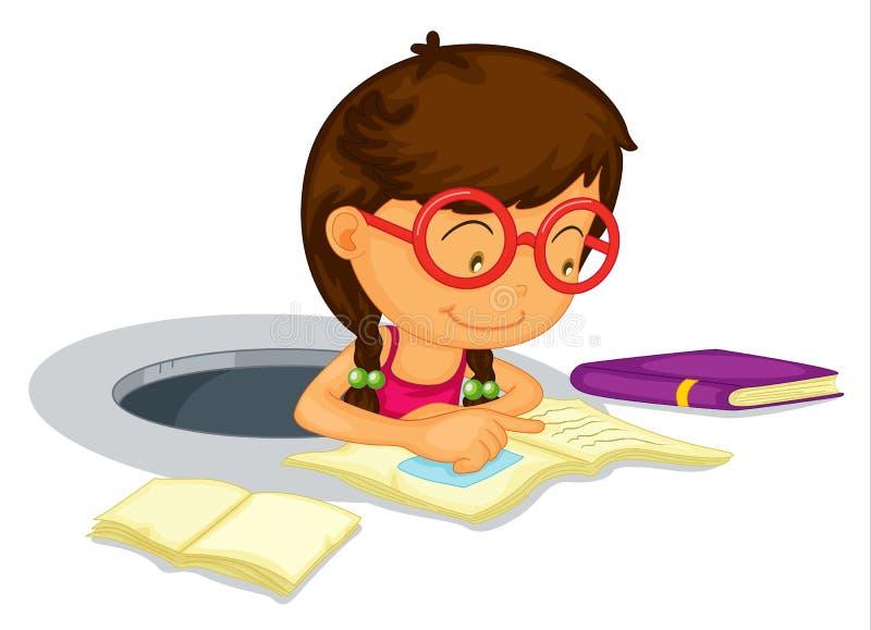 Meisje dat schoolwork doet stock illustratie
