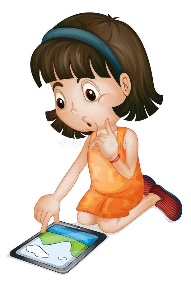 Meisje dat tabletcomputer met behulp van stock illustratie