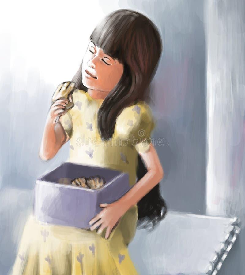 Meisje dat van snoepjes geniet stock illustratie